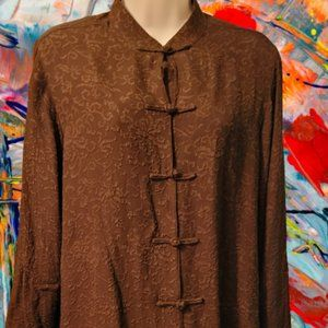 A STUNNING EAST 100% SILK DEEP BROWN LONG BOAT COAT STYLE BLOUSE W/ FROG BUTTONS
